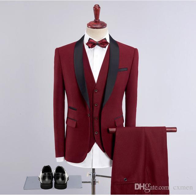 Burgundy Wine Red Wedding Suits for Men Royal Blue Men Suits Groom Tuxedos Bridegroom Blazer Mens Suit Black Shawl Lapel 3 Pieces