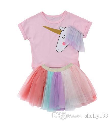 Hotsell Dzieci Dziewczyna Unicorn Top Krótkie Rękawy T-shirt T-shirt Tutu Spódnica Stroje Zestaw Ubrania Dziewczyny Cute Kolorowe Letnie Ubrania