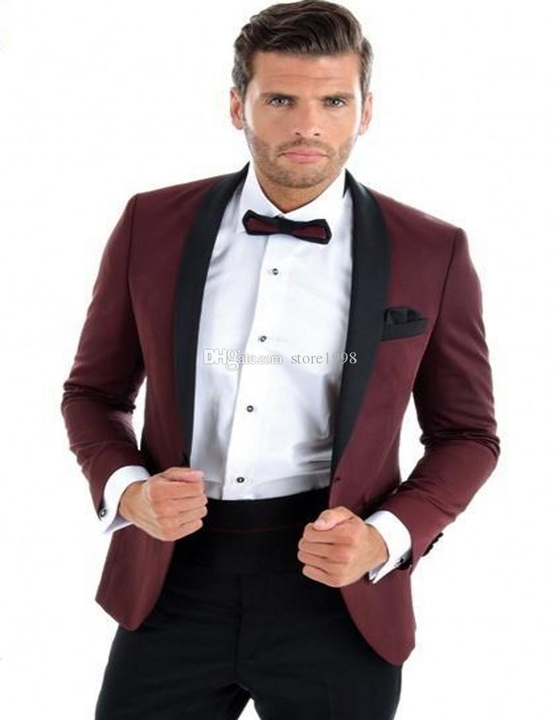Custom Groomsmen Schal Revers Bräutigam Smoking One Button Männer passt Hochzeit / Prom Best Man Blazer (Jacke + Hose + Tie) A409