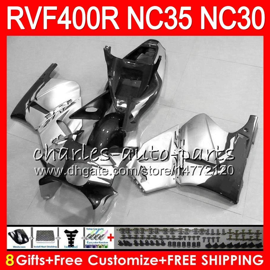 VFR400R prateado cinzento para HONDA NC35 V4 RVF400R 1989 1990 1991 1992 1993 82HM.89 RVF VFR 400 R NC30 VFR 400R VFR400 R 89 90 91 92 93 Carenagens