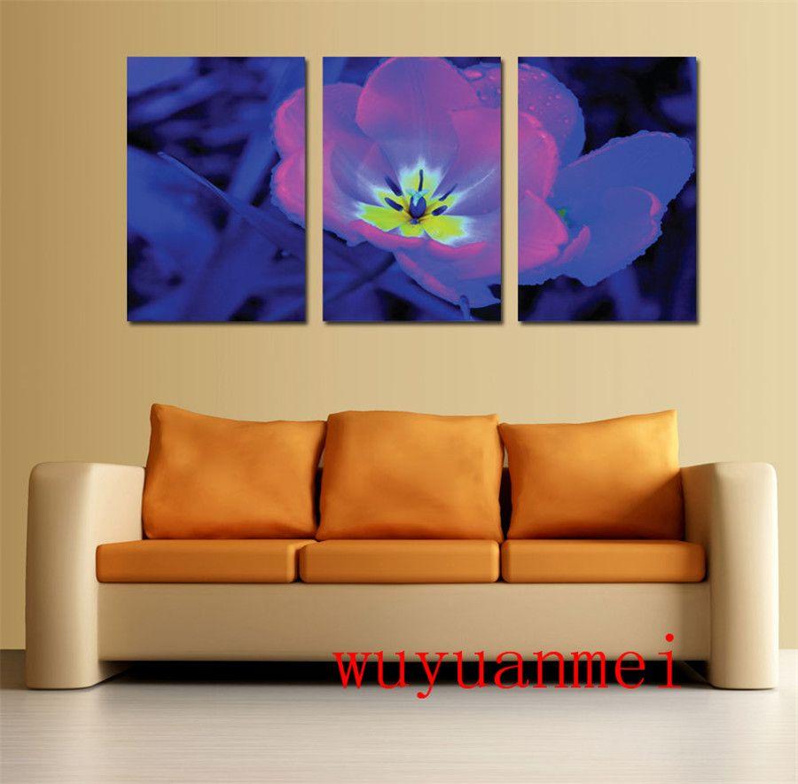 Flor de Pandora, 3 Piezas Decoración para el hogar Pintura de arte moderno impresa HD en lienzo (sin marco / enmarcada)