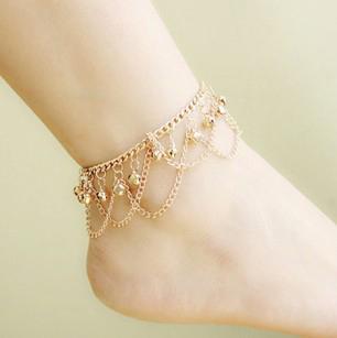 Brand Tassel Anklet 2017 New Bracelet Gold Color Anklets For Women Summer Fine Jewelry Barefoot Sandals