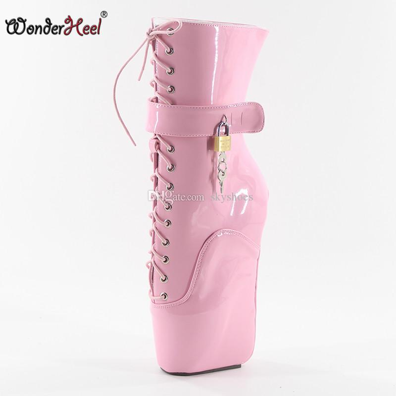 Wonderheel new 18cm wedges heel patent leather lace up locked padlocks ankle ballet boots sexy fetish women hot ballet boots