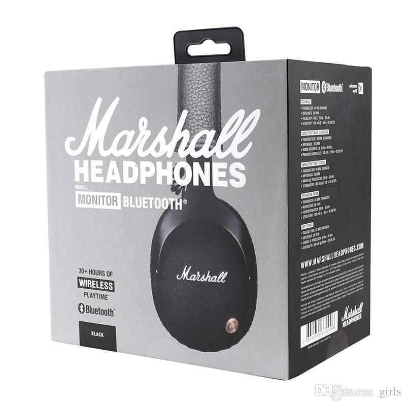 مارشال مونيتور سماعات بلوتوث لاسلكية سماعات صوت وخوذة على الأذن سماعات لاسلكية - أسود