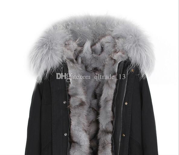 2018 estilo curto guarnição de pele cinza Jazzevar marca cinza fox fur liner preto mini casacos com pele de guaxinim guarnição mulheres snow parkas