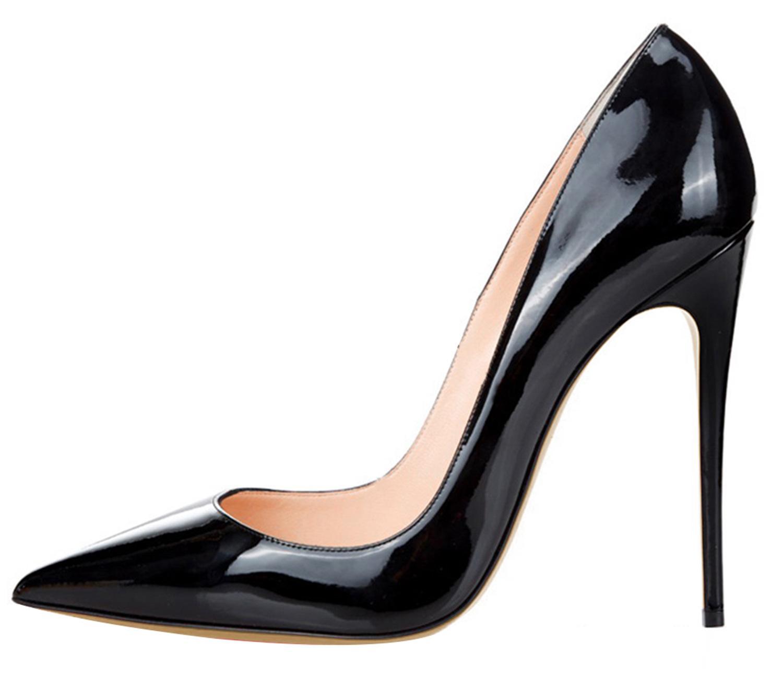 Pompes en cuir verni de designer de luxe 12cm à bout pointu multicolores rouges bas talons hauts grande taille chaussures habillées pour femmes