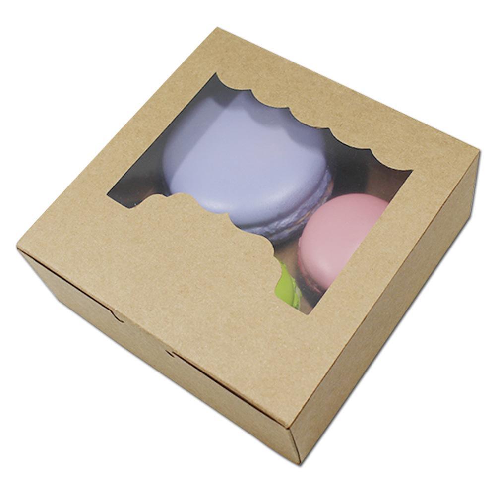 2 사이즈 파티 화이트 / 브라운 베이킹 식품 포장 상자 파티 호의 크래프트 쿠키 비스킷 저장 종이 상자 초콜릿 사탕 선물 상자
