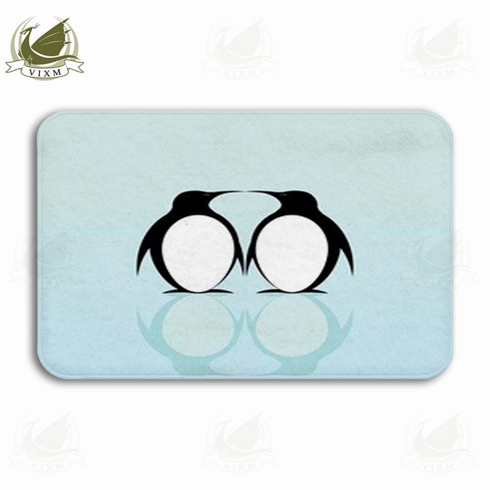 Vixm Dos pingüinos en un fondo azul con la reflexión Puerta de bienvenida Alfombras Alfombras Franela Antideslizante Entrada Interior Cocina Alfombra de baño