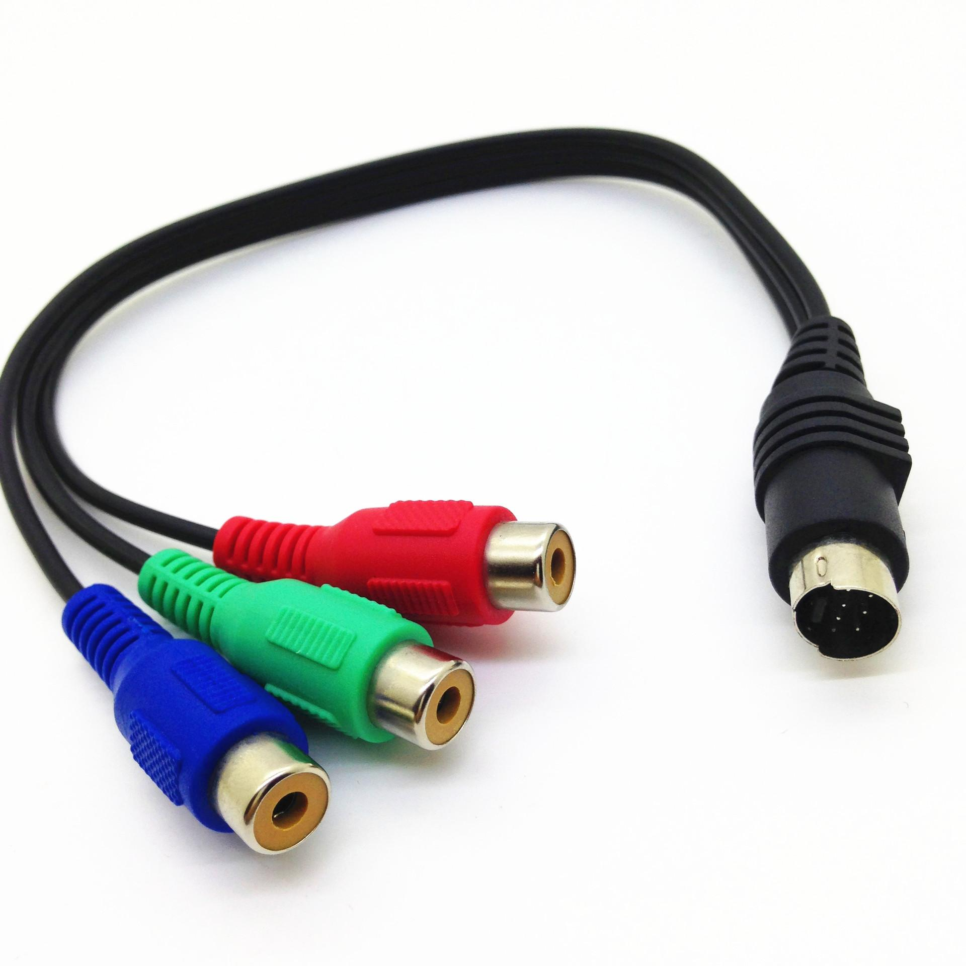 S-Video 7-Pin to 3-RCA RGB Component Cable Adapter 0.3m