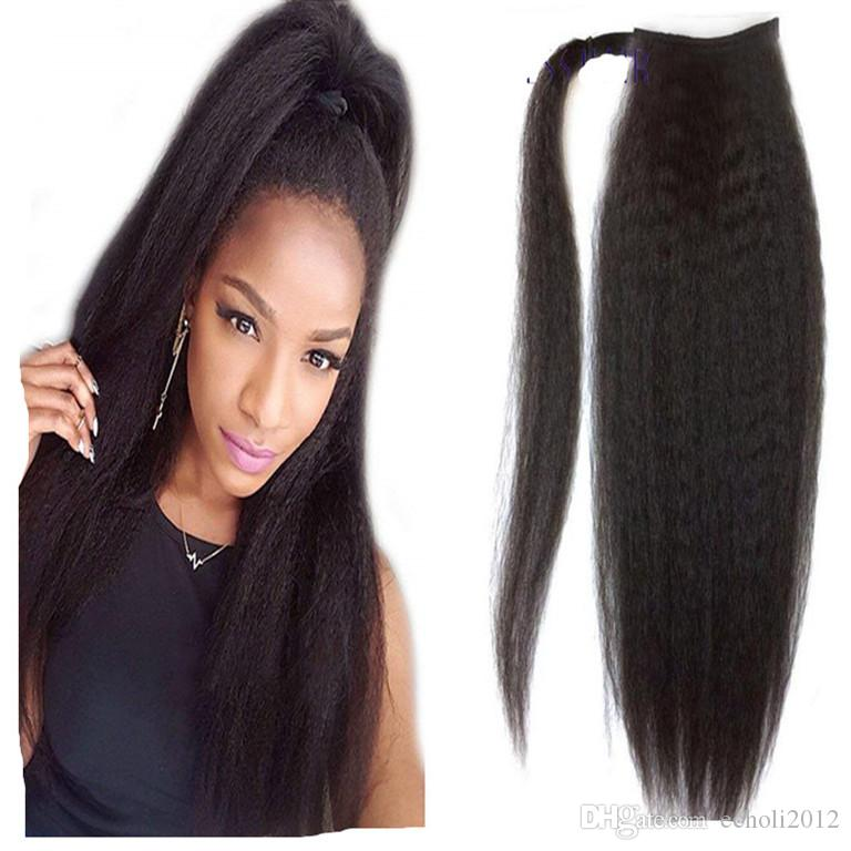 Yaki Straight Ponytail Extensions Kinky Straight For Black Women 120g Color 1b Natural Black 100 Remy Human Hair Ponytail Extensions Cute Ponytail Hairstyles For Short Hair Cute Ponytail Styles For Short Hair