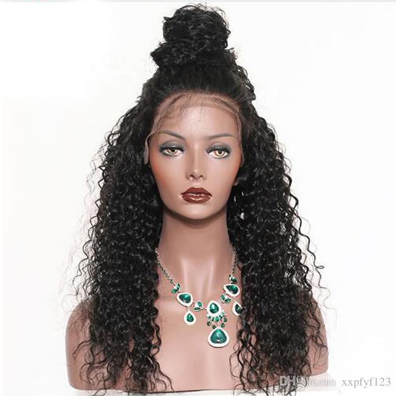 Topo Long Kinky Curly Wigs Side Franja Natural Olhando Preto Resistente ao Calor Resistente ao Calor Laço Perucas dianteiras para as mulheres negras FZP10