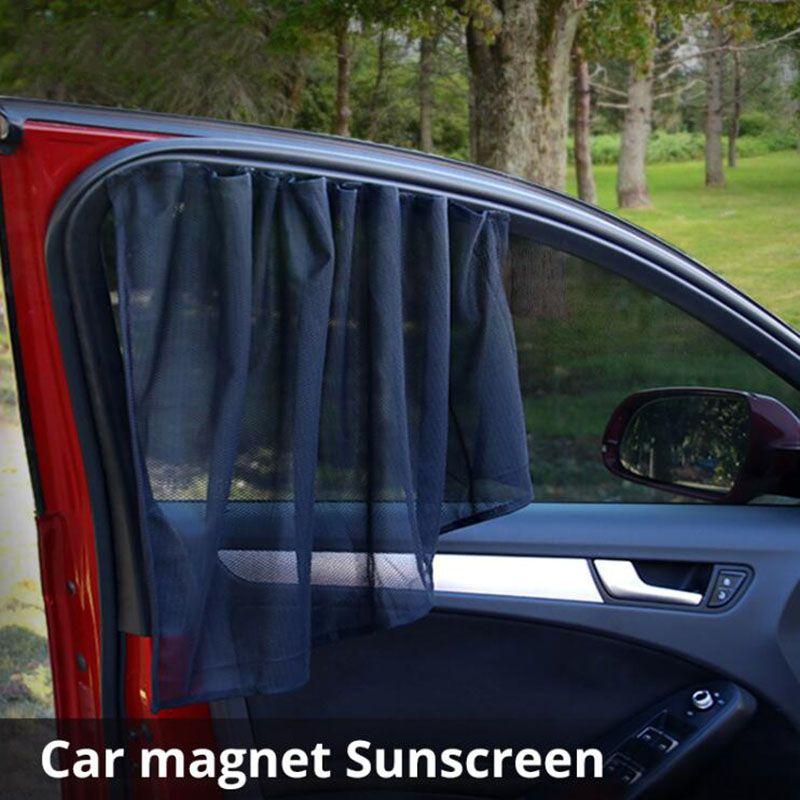 블랙 컬러 거즈 2pcs / pack 유니버설 보호 자동차 윈도우 사이드 커튼 자동차 앞 / 뒤 창 햇빛 방패