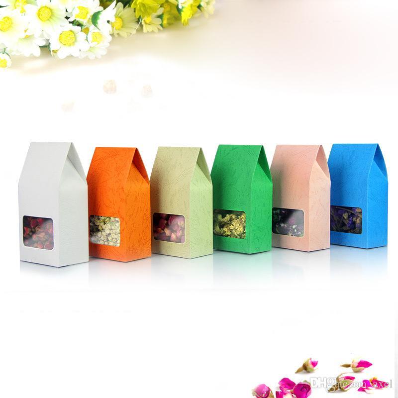 8 * 15.5Embossed rosa arancione bianco Verde blu grigio Imballaggio di colore carta kraft Finestra quadrata trasparente profumata bustina di imballaggio sigillata
