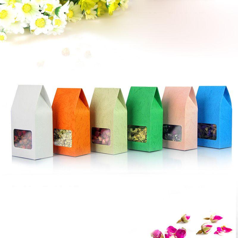 8 * 15.5Embossed rose orange blanc Vert bleu gris Kraft papier couleur emballage Carré transparent fenêtre parfumée thé Boîte d'emballage scellée