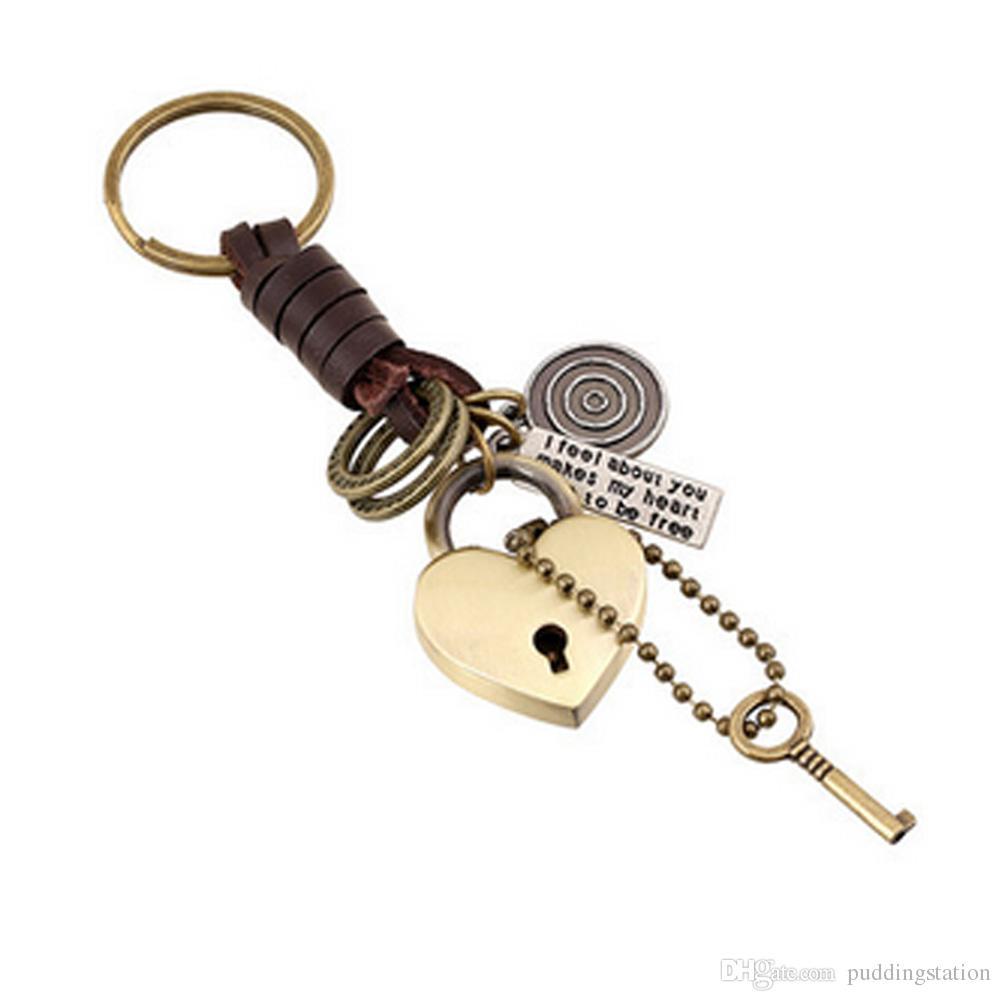 Mode Amour Coeur Serrure Porte-clés pour Hommes Voiture Porte-clés Fait À La Main En Cuir Véritable Porte-clés pour Femmes