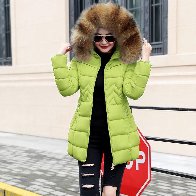 Großhandel Damen Winterjacken Und Mäntel 2018 Parkas Für Damen 4 Farben Wadded Jacken Warm Outwear Mit Kapuze Großer Kunstpelzkragen Von Yuanbai,