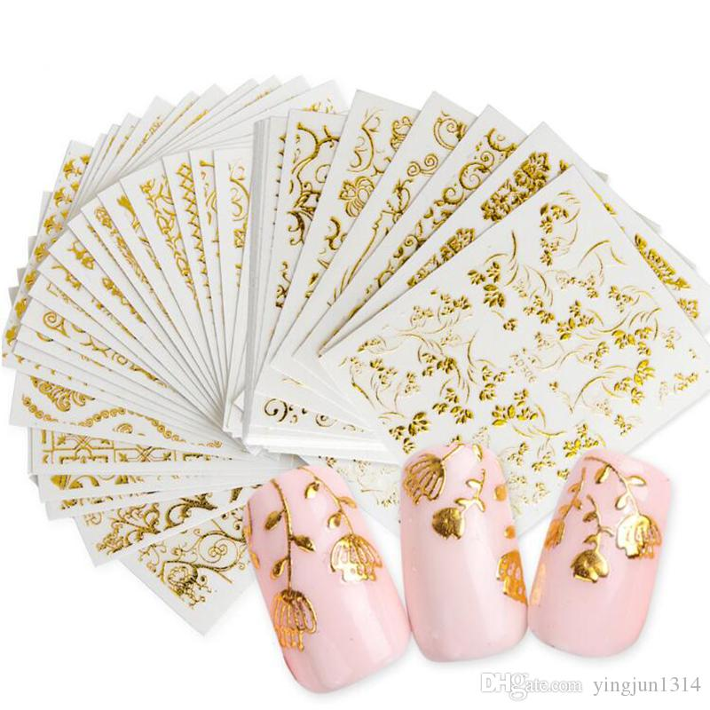 20 Hojas de Oro 3d Pegatinas de Arte de Uñas Calcomanías Huecos Diseños Mixtos Adhesivo Flor Consejos de Uñas Decoraciones Salon Accesorio