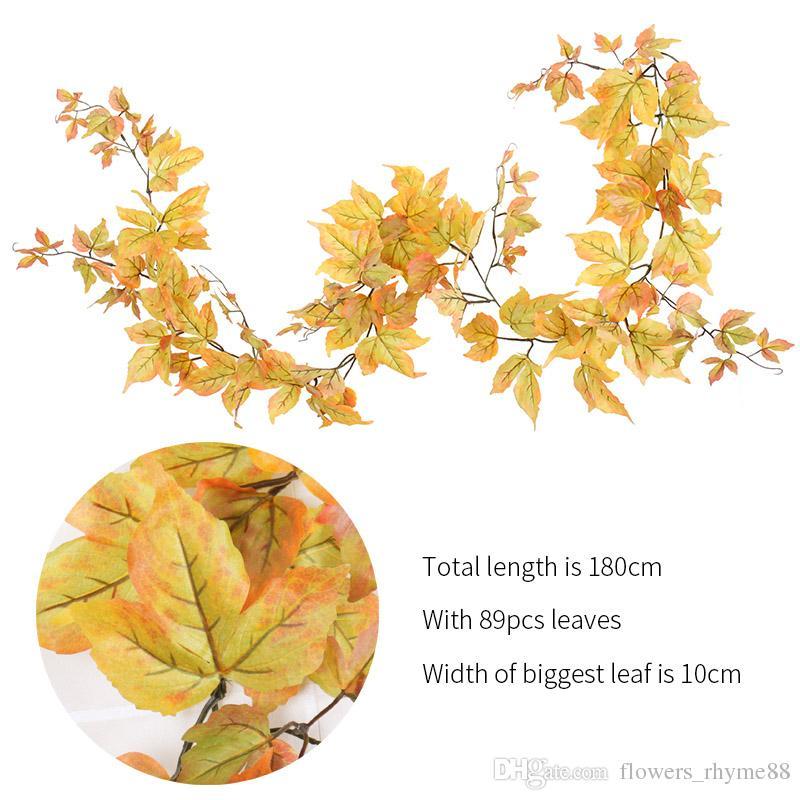 Искусственные растения шелк цветок листья осень Осень подоконник осенние листья гирлянда кленовый лист Лоза поддельные листья главная украшения сада венки