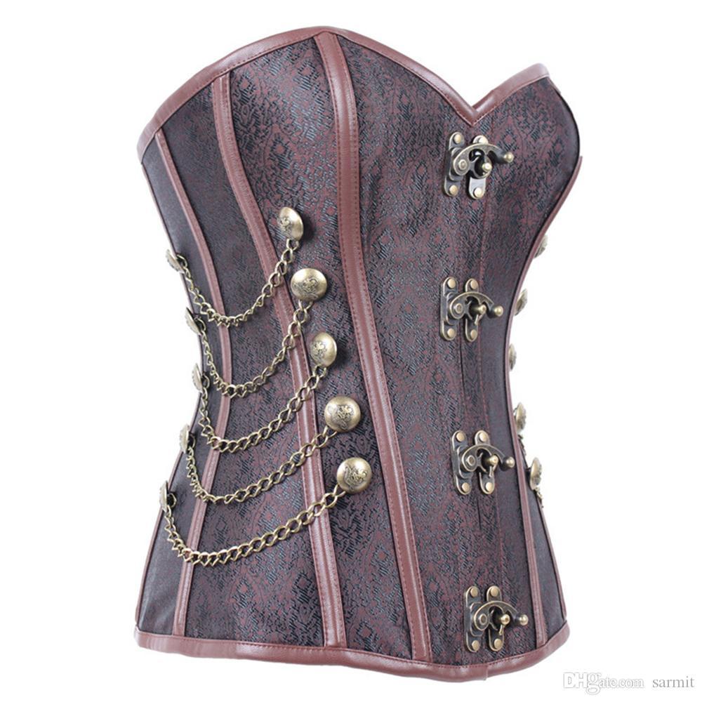 Vintage Corset Underbust Body Shaper Mujeres Body Slimming Harness Arnés chaleco de compresión del pecho F0302 Brown con cadenas de remaches