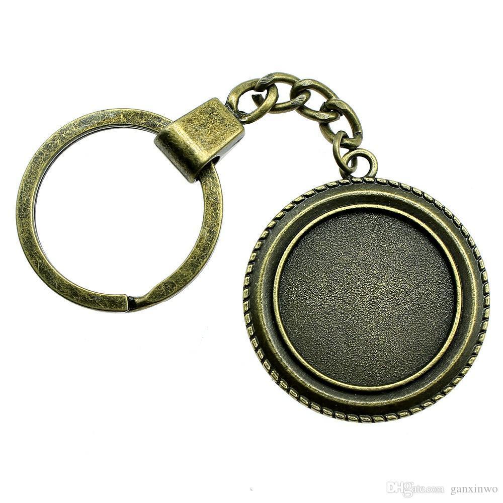 6 조각 키 체인 여성 열쇠 고리 커플 키 체인 키 간단한 싱글 사이드 내부 크기 25mm 라운드 카보 숑 카메오 자료 트레이 베젤 빈