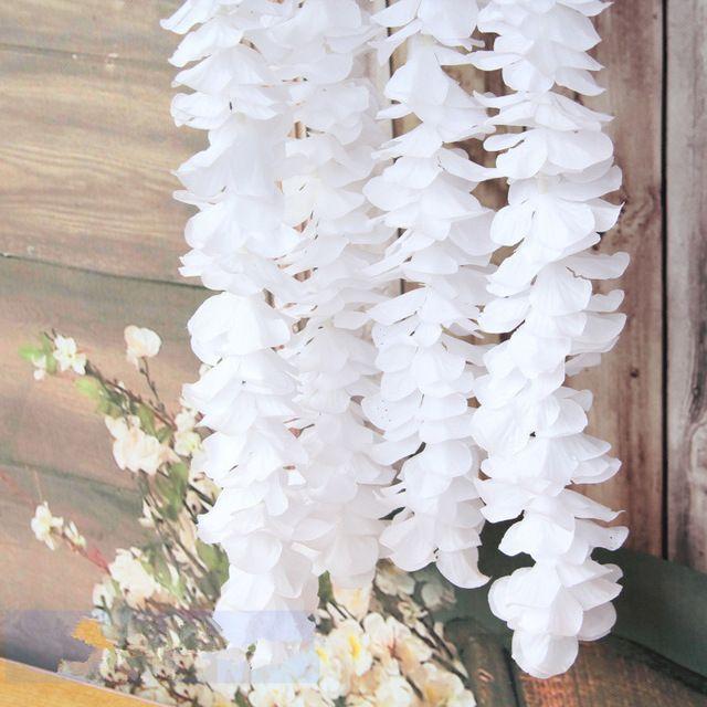 Getrocknete Blumen 1 Meter lange elegante Übergabe Orchidee Seidenblume Rebe weiße Glyzinien Girlande Ornament für Festival Hochzeit Gartendekoration