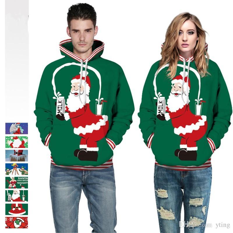 Spoof Navidad impresión digital suéter con capucha pareja de gran tamaño cargado uniforme de béisbol 8 tipos envío gratis