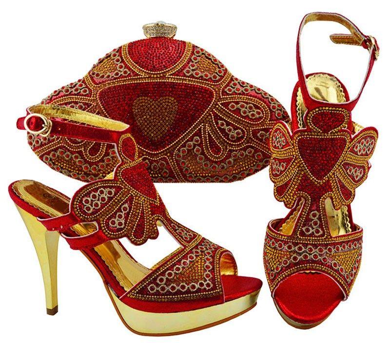 Alto grau vermelho mulheres bombas com cristal e rhinestone africano sapatos jogo bolsa combinada para o vestido JZC004, calcanhar 11.5 CM