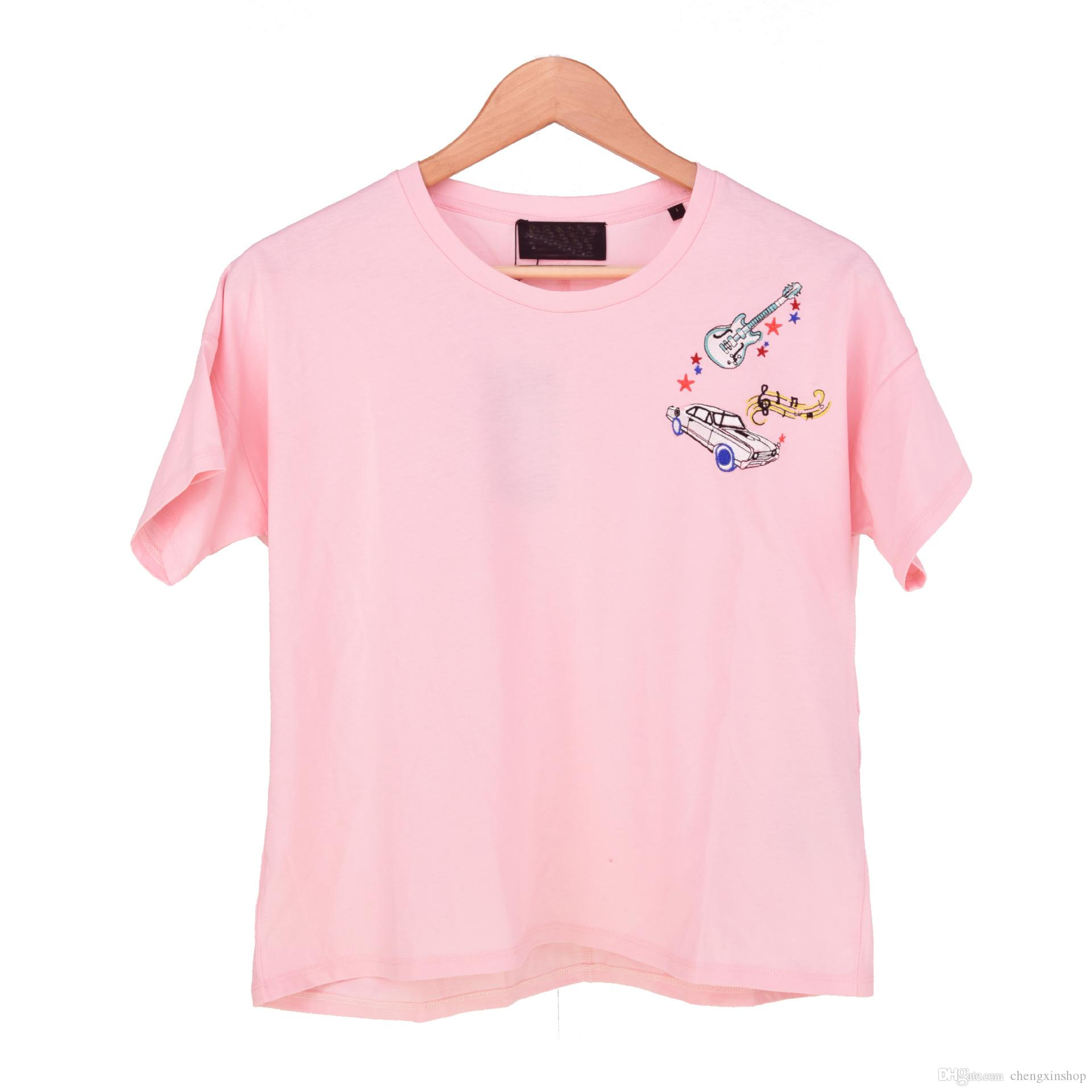2018 manches courtes blanches / roses color de l'équipage encolure de voiture broderie dame de la dame top chemisier femmes t-shirts
