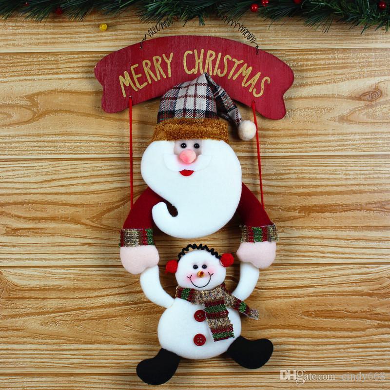 Enfeites de suspensão para decorações da árvore de natal santa / boneco de neve pingente para natal porta decoração navidad 2018 natal gfits para crianças