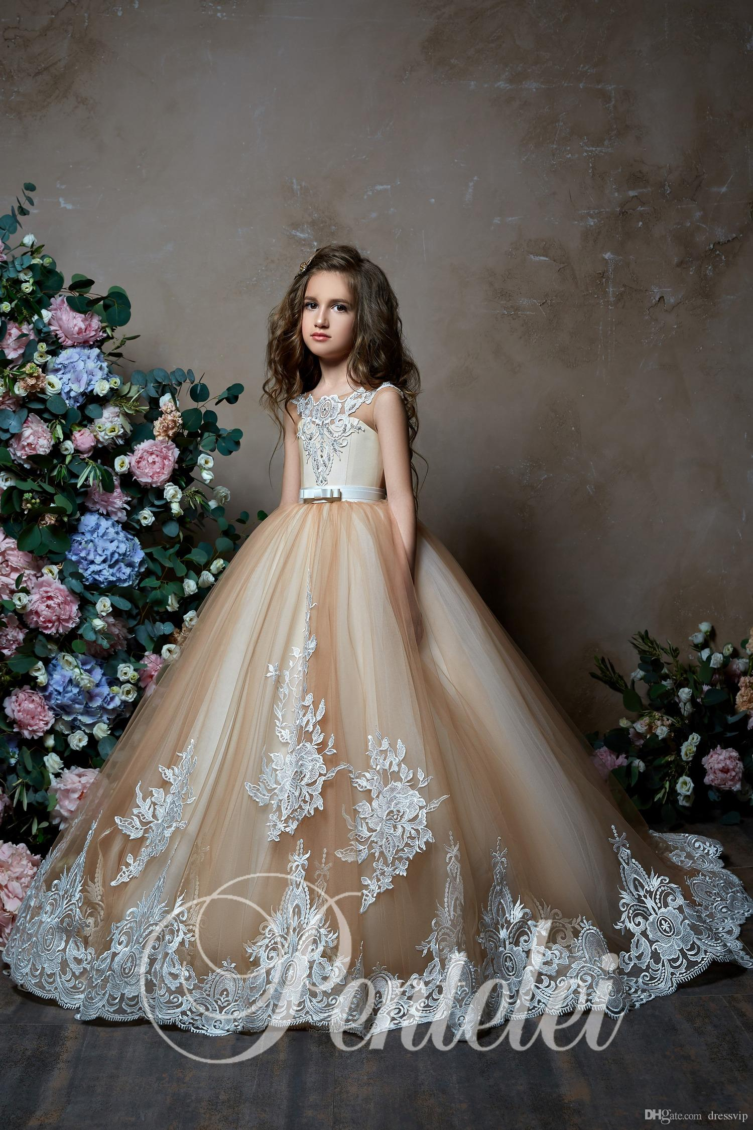 Pentelei 2019 Champagne Flower Girl Dresses For Weddings Jewel Neck Lace Little Kids Baby Gowns First Communion Dress Girls Pageant Gowns