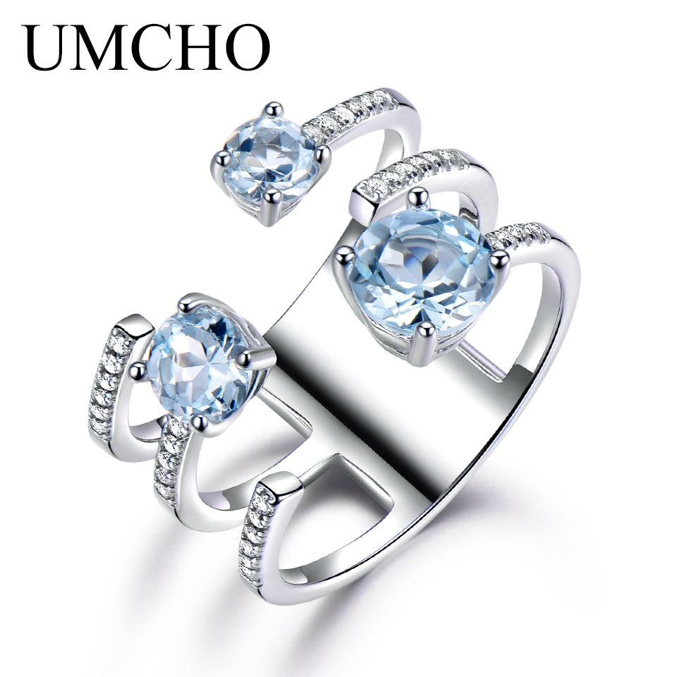 UMCHO 1.37ct Genuine Natural Sky Blue Topaz 925 Sterling Silver Double Ring Gemstone Engagement Rings For Women New Arrival S18101001