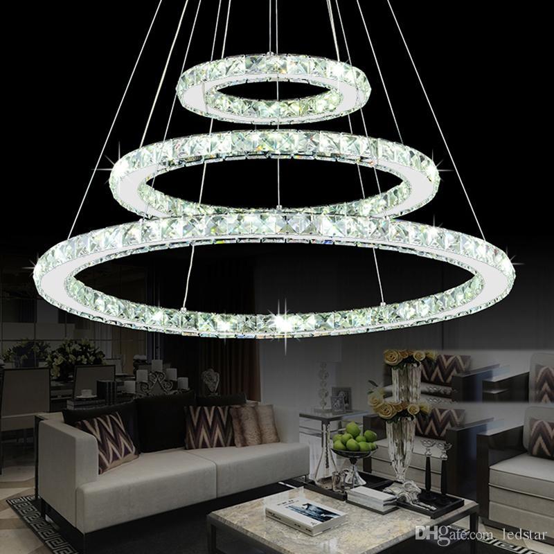 Cristal moderno Lustre de Cristais Anel de Diamante LEVOU Lâmpada Pingente de Aço Inoxidável Pendurado Luminárias Ajustáveis de Cristal LED Lustre