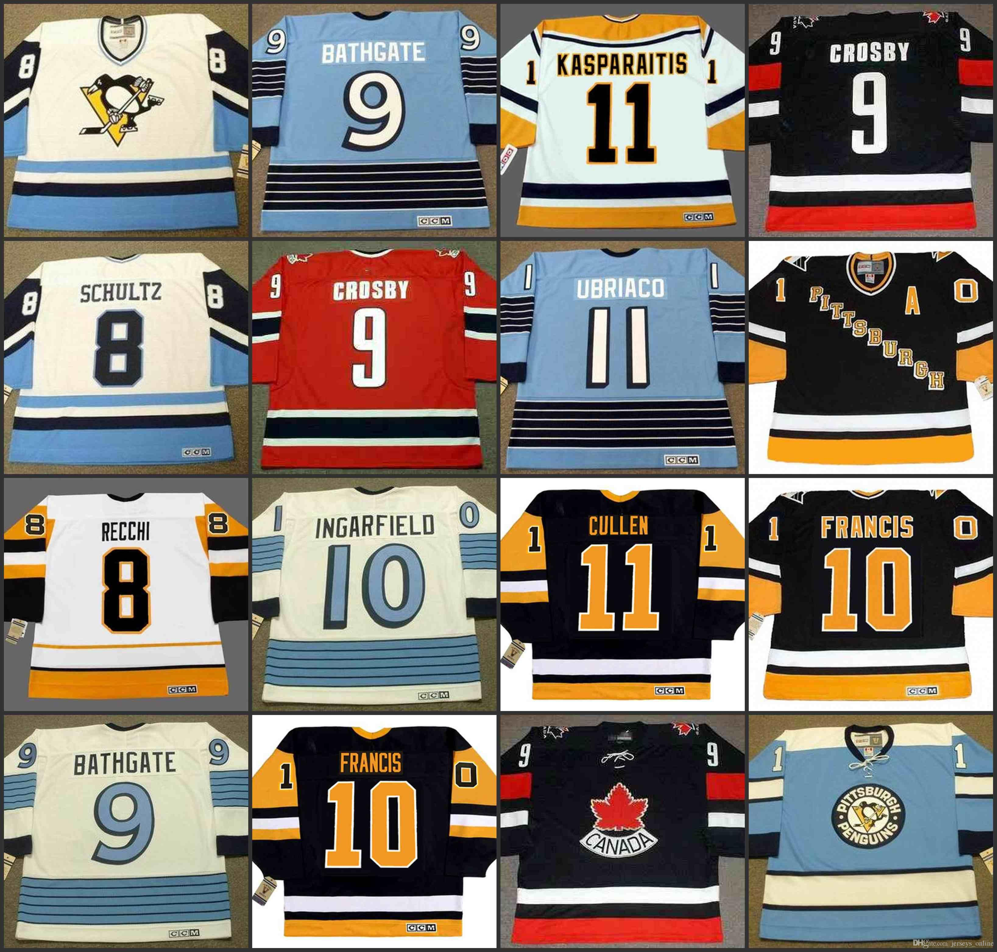 online store 42456 f9130 2019 Pittsburgh Penguins 8 DAVE SCHULTZ 9 ANDY BATHGATE 9 MARK JOHNSO 9 RON  FRANCIS 10 DAN QUINN CCM NHL Vintage Away Hockey Jersey Stitched From ...