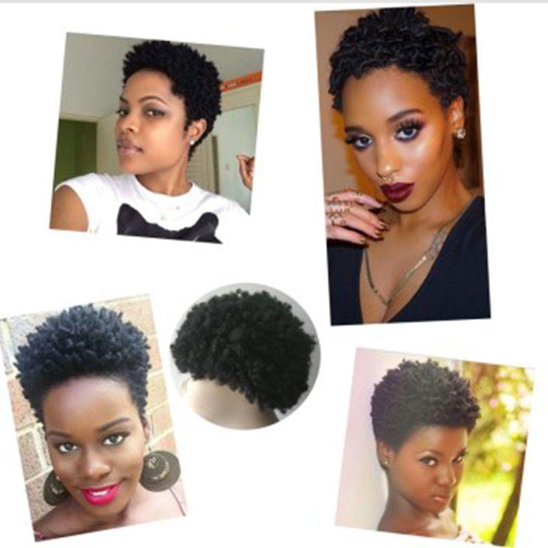 mode chaude cheveux brésiliens crépus bouclés perruque de simulation cheveux humains afro courtes bouclés pleins perruques en stock