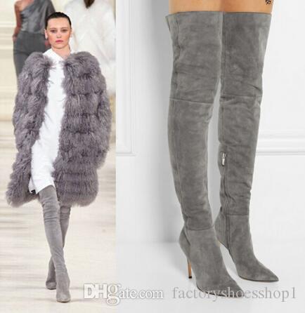 2018 Nuevas mujeres de invierno sobre la rodilla Zapatos de cuero Moda Muslo Botas altas Gris Suede Tacones altos Zapatos atractivos Mujeres