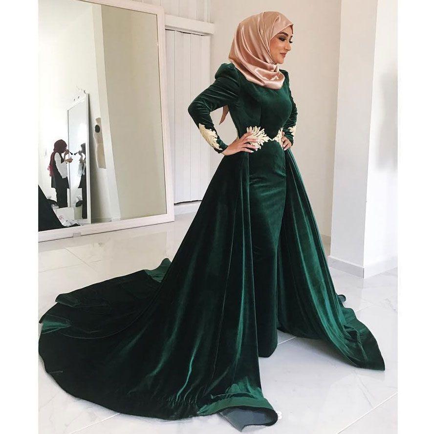 Avcı Yeşil Kadife Müslüman Abiye Yüksek Boyun Aplike Artı Boyutu Balo Abiye Uzun Kollu Vestidos De Fiesta Overskirt Resmi Elbise