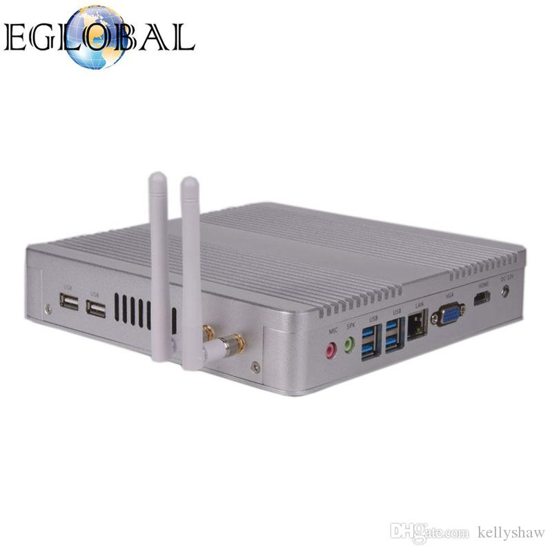 Eglobal 4K Barebone Fanless Mini HTPC PC V8-4200U with Intel Core i5 4200U Silver Or Black Color Aluminum Alloy Desktop