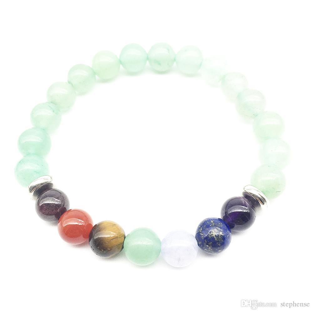 Sn1340 alta qualidade verde aventurina pulseira das mulheres projeto 7 chakra yoga pulseira meditativa yogi equilíbrio pulseira