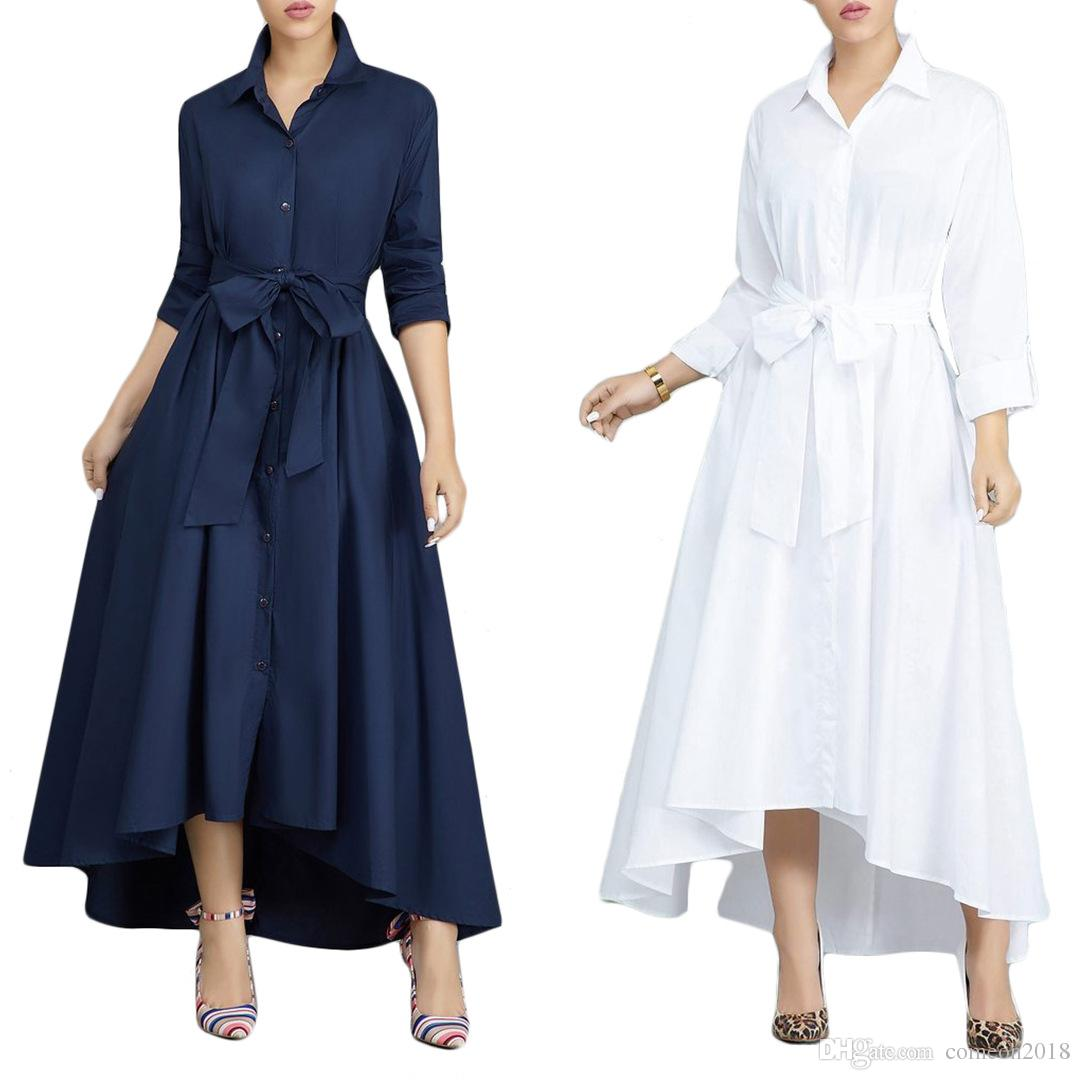 New Women Clothes Fashion Vintage Women Dress Women Causal Maxi Dress Plus  Size Female Autumn Winter Long Sleeve Loose Button Dress Vestido Womens ...