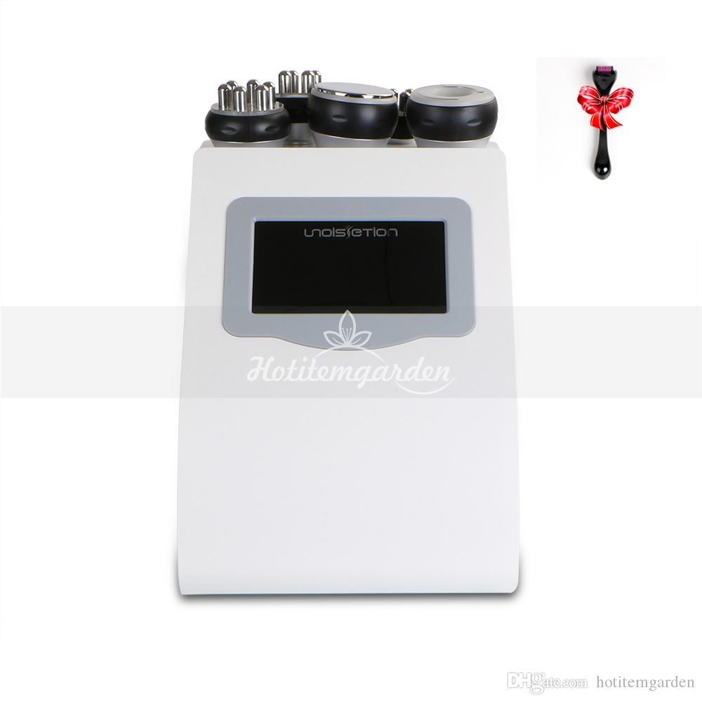 Salon uso 5in 1 Unoisetion cavitação rf rf vácuo máquina de emagrecimento pele apertar máquina de fusão gordura + dom rolo micro agulha