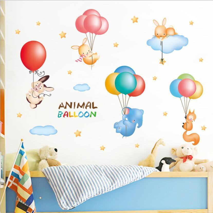 Cute Rabbit Elephant Squirrel Animal Balloons Sticker Kids Rooms Decoration Cartoon Stickers Baby Boy Girl Bedroom Decor