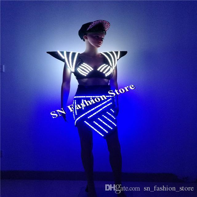 SS2 RGB Farbe Sexy Sänger Weste Tanz Ballsaal Kostüme LED-Licht Kostüm Catwalk Bühne trägt DJ BH Rock Schulter Frauen Kleider Leistung