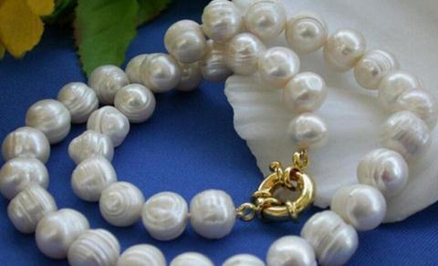 Природные 12-13mm Белый Akoya барокко Жемчужное ожерелье 18 дюймов 14k золото Застежка