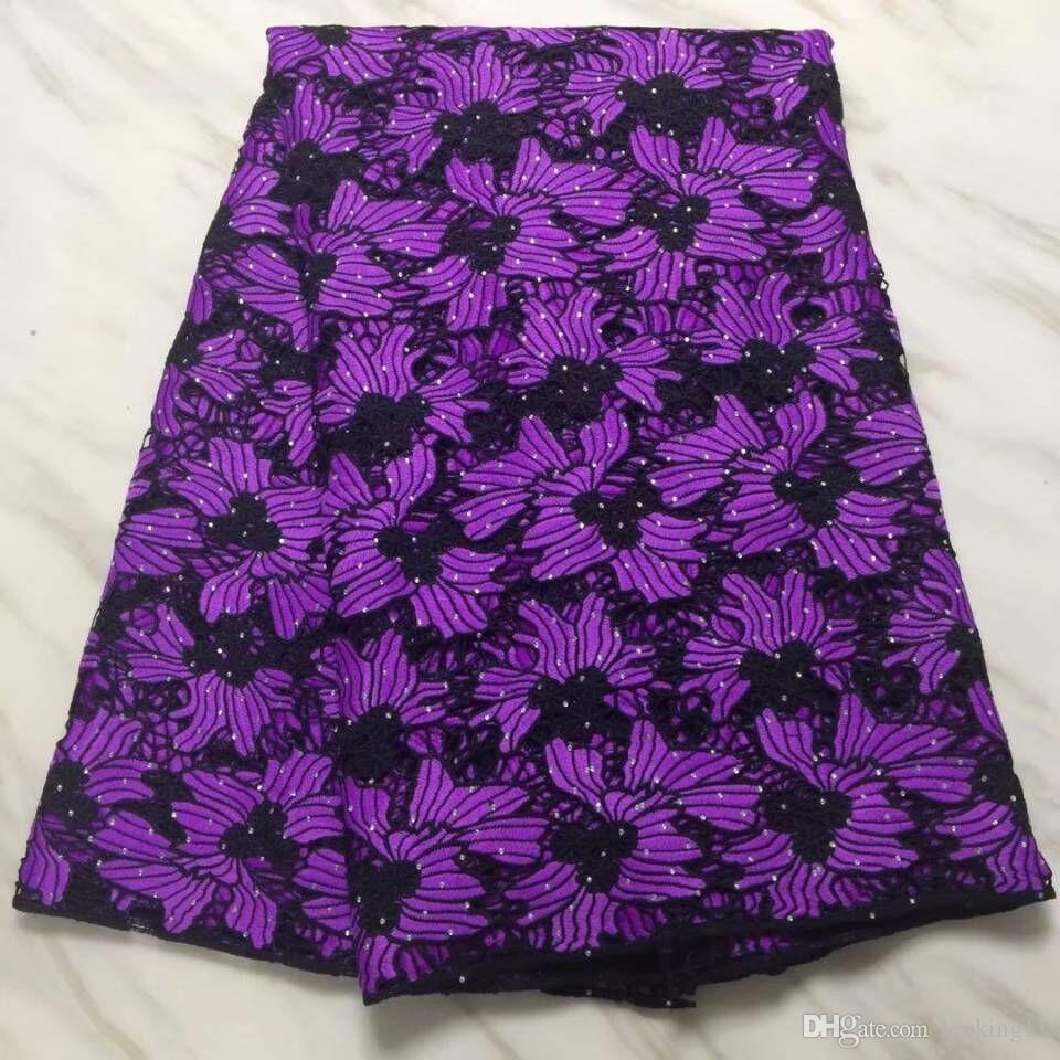 5yards / ПК Мода Черно-фиолетовый Гиппи Ткань Вышивка Африканская Водорастворимая Сетчатая кружева со стразами для платья BW131-13