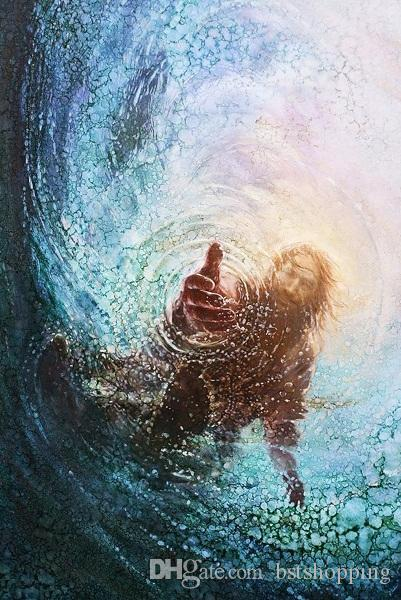 Yongsung Kim MAIN DE DIEU peint à la main classique Portrait mur peinture à l'huile d'art Jésus Étirements Main dans la Forth toile de haute qualité sur l'eau