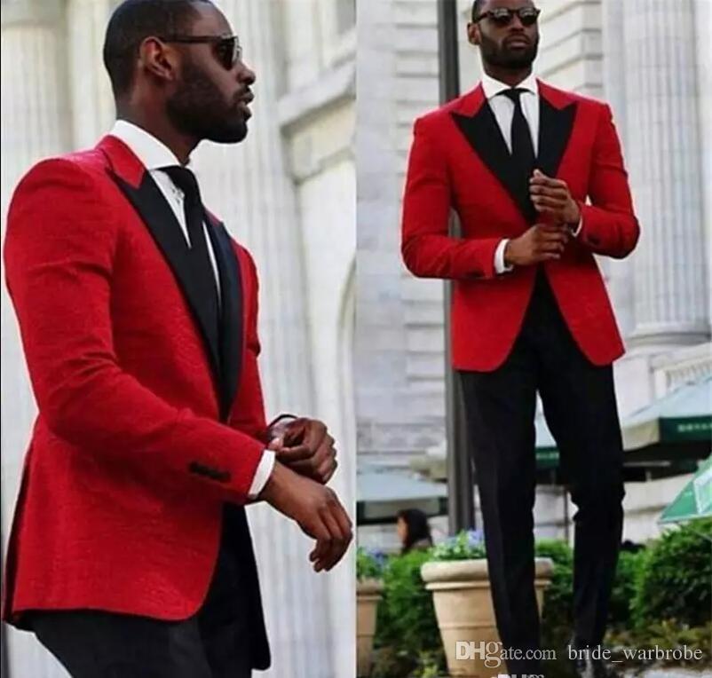 Slim Fit Red Hochzeit Smoking Männer Anzüge Zweiteiler Günstige Bräutigam Smoking Revers Männer Party Anzug Maß Groomsmen Anzüge (Jacke + Hose)