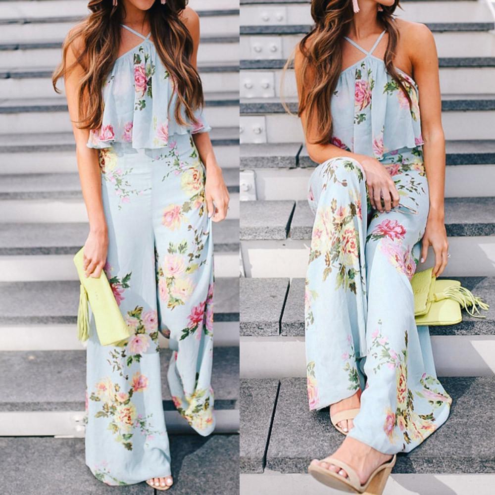 2018 Sommer-Frauen-Chiffon- Bügel-Blumen-Sleeveless Backless lange breite Bein-Hose-böhmischer Blumendruckoverall # 0807