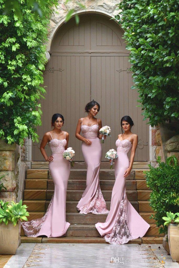 Laço rosa 2018 sereia vestidos de dama de honra vestidos espaguete applique vestidos de festa de casamento de casamento vestidos formais dombrearia vestido de honra vestidos