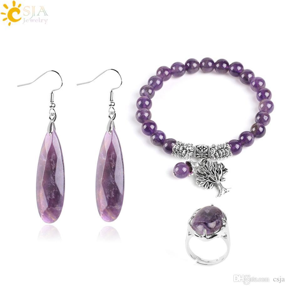 CSJA Amethyst Gemstone Jewelry Sets Feb Birthstone Bridal Wedding Jewellery Set Natural Purple Crystal Quartz Earring Ring Bracelet F666