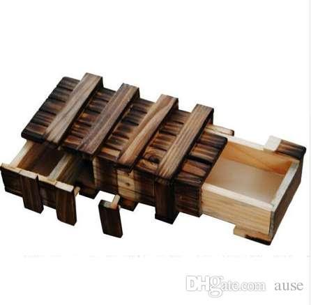 Vintage caja de rompecabezas de madera con cajón secreto mágico Compartimiento de madera Rompecabezas Juguetes Rompecabezas Niños Cajas de madera de juguete de regalo